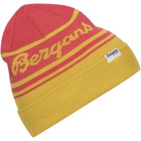 Bergans Find My Kids Beanie Kids waxed yellow/light dahlia red
